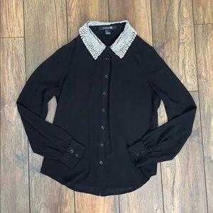 Forever 21 Button Down Blouse with Pearls